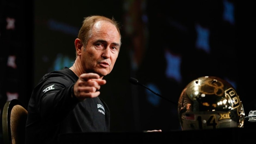Jul 21, 2014; Dallas, TX, USA; Baylor Bears head coach Art Briles speaks to the media during the Big 12 Media Day at the Omni Dallas. Mandatory Credit: Kevin Jairaj-USA TODAY Sports