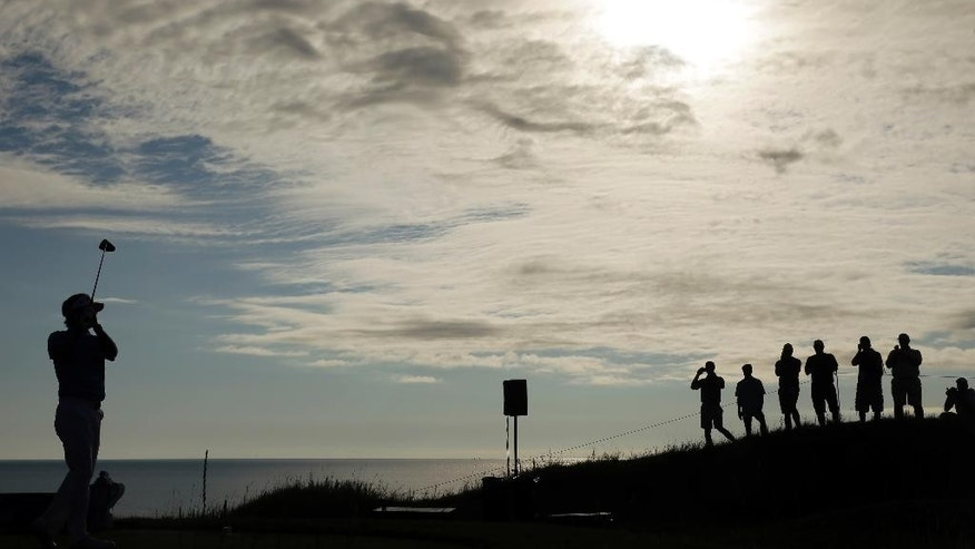Bubba Watson hits a drive on the second hole during a practice round for the PGA Championship golf tournament Tuesday, Aug. 11, 2015, at Whistling Straits in Haven, Wis. (AP Photo/Chris Carlson)
