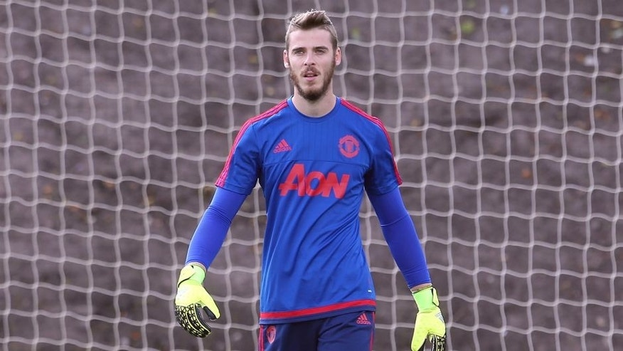 MANCHESTER, ENGLAND - AUGUST 05: (EXCLUSIVE COVERAGE) David de Gea of Manchester United in action during a first team training session at Aon Training Complex on August 5, 2015 in Manchester, England. (Photo by Matthew Peters/Man Utd via Getty Images)