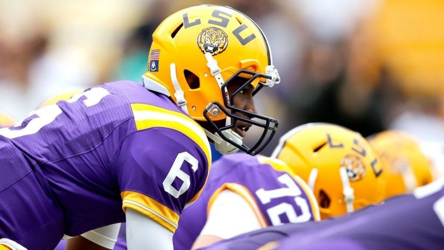 Apr 5, 2014; Baton Rouge, LA, USA; LSU Tigers quarterback Brandon Harris (6) during the 2014 spring game at Tiger Stadium. Mandatory Credit: Derick E. Hingle-USA TODAY Sports