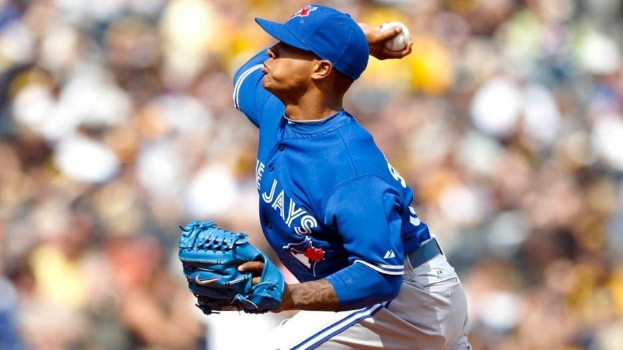 May 4, 2014; Pittsburgh, PA, USA; Toronto Blue Jays relief pitcher Marcus Stroman (54) pitches in the eighth inning against the Pittsburgh Pirates at PNC Park. Mandatory Credit: Rick Osentoski-USA TODAY Sports