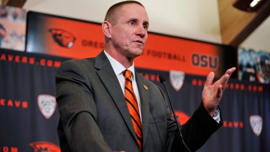 <p>Nov 15, 2014; Corvallis, OR, USA; Oregon State Beavers new football coach Gary Andersen speaks at a press conference at Reser Stadium. Mandatory Credit: Susan Ragan-USA TODAY Sports</p>