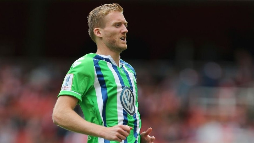 LONDON, ENGLAND - JULY 25: Andre Schurrle of Wolfsburg during the Emirates Cup match between VfL Wolfsburg and Villarreal at Emirates Stadium on July 25, 2015 in London, England. (Photo by Catherine Ivill - AMA/Getty Images)