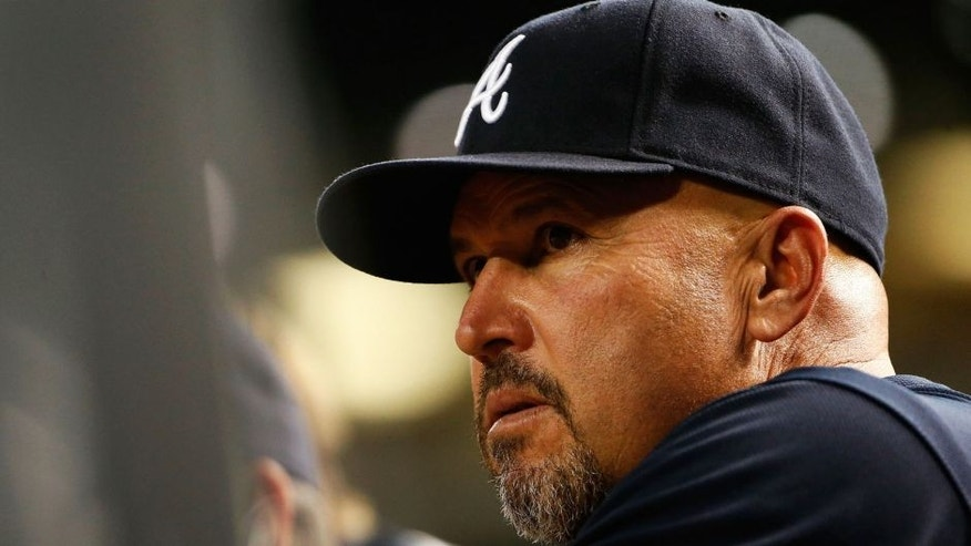 PHOENIX, AZ - JUNE 01: Manager Fredi Gonzalez #33 of the Atlanta Braves watches from the dugout during the MLB game against the Arizona Diamondbacks at Chase Field on June 1, 2015 in Phoenix, Arizona. (Photo by Christian Petersen/Getty Images)