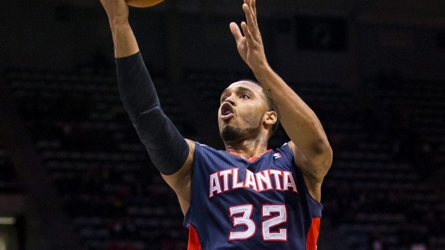 "<p style=""font-family: tahoma, arial, helvetica, sans-serif; font-size: 12px;"">Apr 16, 2014; Milwaukee, WI, USA; Atlanta Hawks forward Mike Scott (32) drives for a shot during the first quarter against the Milwaukee Bucks at BMO Harris Bradley Center. Mandatory Credit: Jeff Hanisch-USA TODAY Sports</p>"