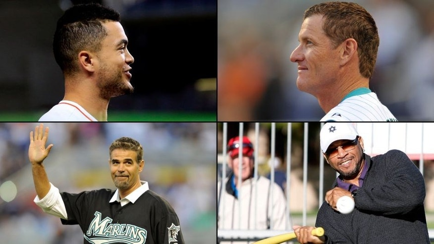"<p>Members of the Miami Marlins' ""Franchise Four"" Giancarlo Stanton, Jeff Conine, Gary Sheffield and Mike Lowell.<br> </p>"