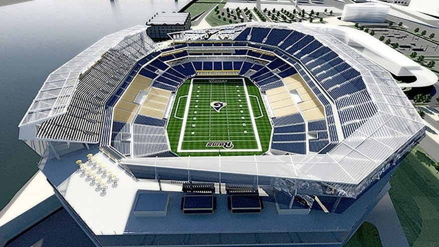 Missouri Governor Jay Nixon's task force has released a new round of stadium and property renderings by HOK in St. Louis on March 2, 2015. The new renderings reflect input received over the past seven weeks from the NFL and St. Louis Rams, as well as stakeholders in the project including Ameren, the Terminal Railroad Association, the U.S. Army Corps of Engineers and others. The task force is developing plans for an open-air NFL stadium project on the North Riverfront of downtown St. Louis that could be the new home for the Rams, as well as related enhancements to the Edward Jones Dome and America's Center convention facility. Rendering by HOK/UPI