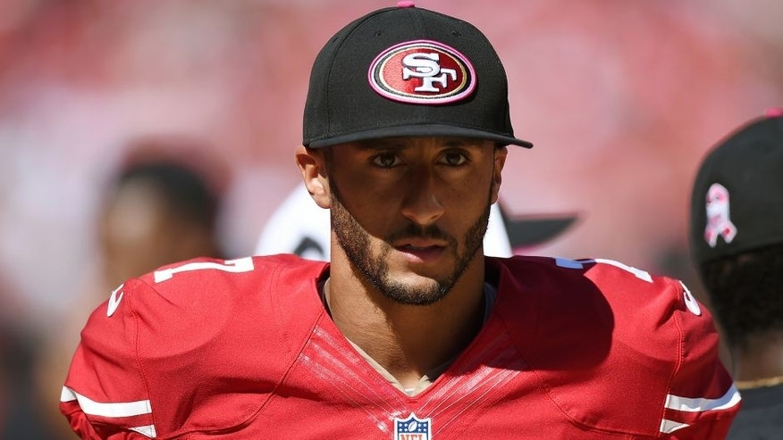 SANTA CLARA, CA - OCTOBER 05: Colin Kaepernick #7 of the San Francisco 49ers looks on from the sidelines against the Kansas City Chiefs at Levi's Stadium on October 5, 2014 in Santa Clara, California. (Photo by Thearon W. Henderson/Getty Images)
