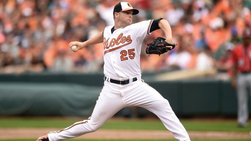 BALTIMORE, MD - JULY 12: Bud Norris #25 of the Baltimore Orioles pitches against the Washington Nationals at Oriole Park at Camden Yards on July 12, 2015 in Baltimore, Maryland. The Nationals won 3-2. (Photo by Mitchell Layton/Getty Images)