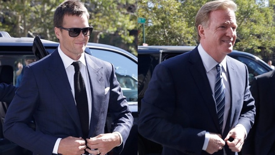 New England Patriots quarterback Tom Brady, left, and NFL Commissioner Roger Goodell arrive for court in New York.