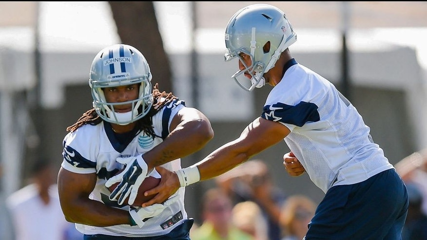 <p>Dallas Cowboys running back Gus Johnson, left, takes a handoff from quarterback Jameill Showers, right, as they run a drill during Dallas Cowboys' NFL training camp, Thursday, July 30, 2015, in Oxnard, Calif. (AP Photo/Gus Ruelas)</p>