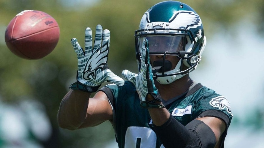 Aug 2, 2015; Philadelphia, PA, USA; Philadelphia Eagles wide receiver Jordan Matthews (81) catches the ball during training camp at NovaCare Complex. Mandatory Credit: Bill Streicher-USA TODAY Sports