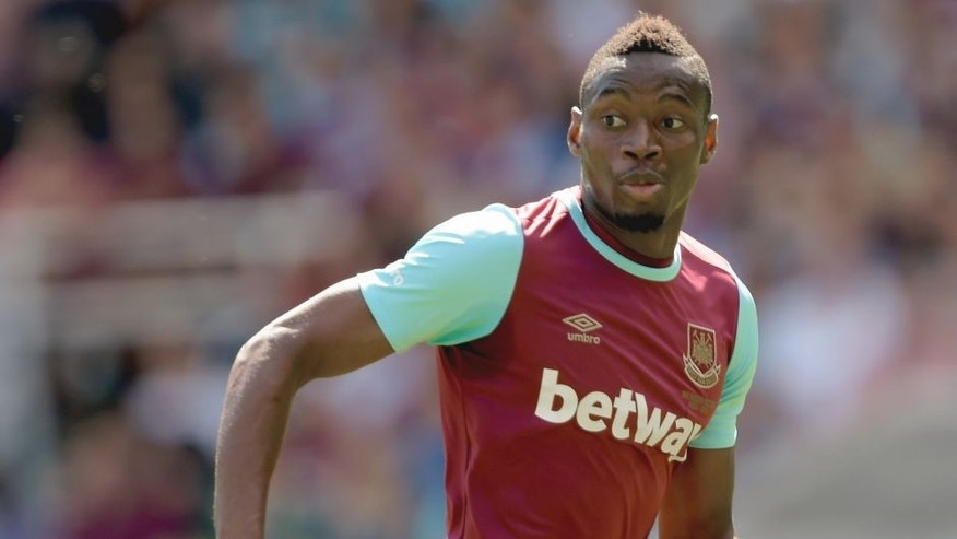 LONDON, ENGLAND - AUGUST 02: Diafra Sakho of West Ham United in action in the Betway Cup match between West Ham United and Werder Bremen at Boleyn Ground on August 2, 2015 in London, England. (Photo by Arfa Griffiths/West Ham United via Getty Images)