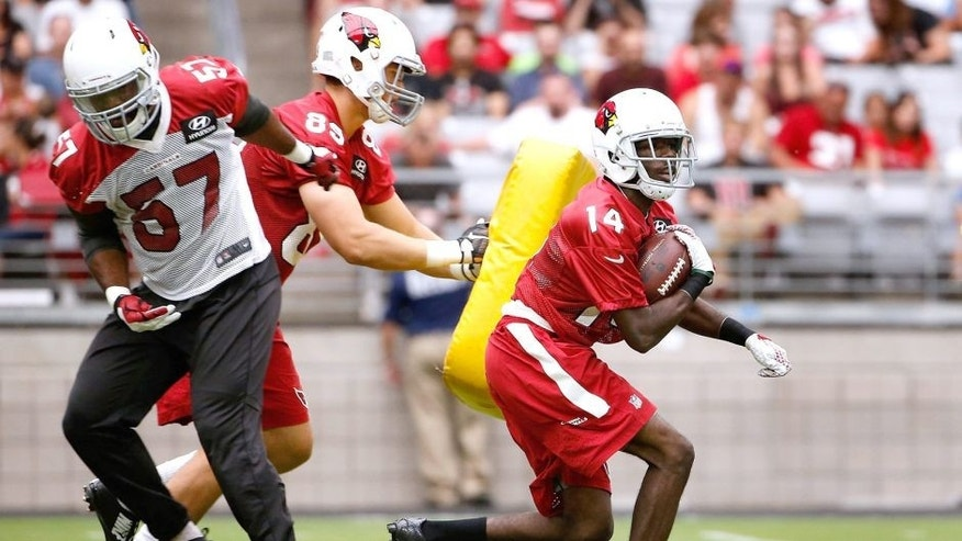 GLENDALE, AZ - AUGUST 02: Wide receiver J.J. Nelson #14 of the Arizona Cardinals runs with the football during the team training camp at University of Phoenix Stadium on August 2, 2015 in Glendale, Arizona. (Photo by Christian Petersen/Getty Images)
