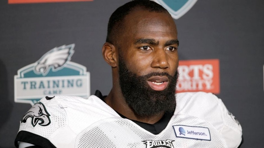 Philadelphia Eagles' Malcolm Jenkins speaks with members of the media after practice at NFL football training camp, Friday, Aug. 7, 2015, in Philadelphia. (AP Photo/Matt Rourke)