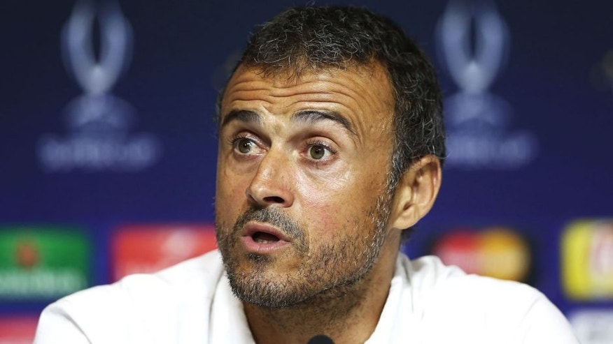 TBILISI, GEORGIA - AUGUST 11: Luis Enrique, manager of Barcelona pictured during a press conference after the UEFA Super Cup between Barcelona and Sevilla FC at Dinamo Arena on August 11, 2015 in Tbilisi, Georgia. (Photo by Matthew Lewis - UEFA/UEFA via Getty Images)
