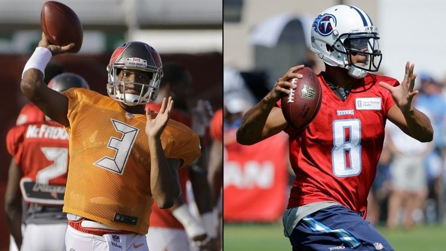 <p>Tampa Bay Buccaneers' Jameis Winston (left) and Tennessee Titans' Marcus Mariota (right).<br> </p>