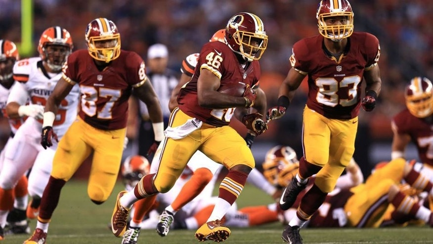 Aug 13, 2015; Cleveland, OH, USA; Washington Redskins running back Alfred Morris (46) runs the ball during the first quarter of preseason NFL football game against the Cleveland Browns at FirstEnergy Stadium. Mandatory Credit: Andrew Weber-USA TODAY Sports