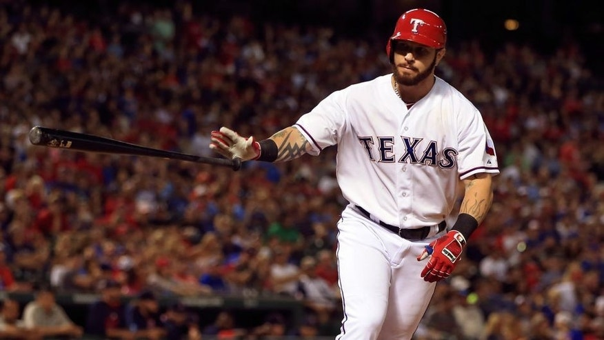 May 29, 2015; Arlington, TX, USA; Texas Rangers left fielder Josh Hamilton (32) walks during the game against the Boston Red Sox at Globe Life Park in Arlington. Mandatory Credit: Kevin Jairaj-USA TODAY Sports