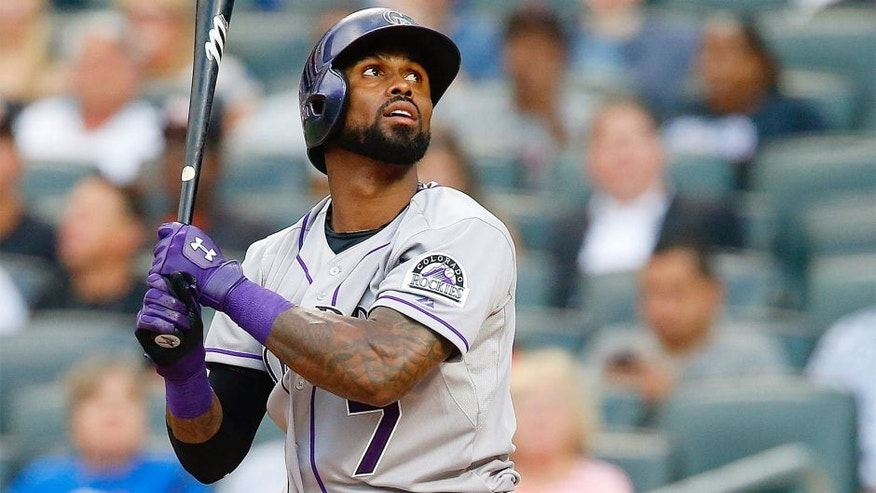 NEW YORK, NY - AUGUST 12: Jose Reyes #7 of the Colorado Rockies in action against the New York Mets at Citi Field on August 12, 2015 in the Flushing neighborhood of the Queens borough of New York City. The Mets defeated the Rockies 3-0. (Photo by Jim McIsaac/Getty Images)