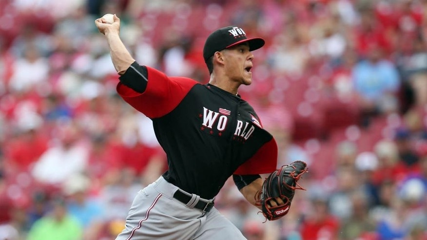 <p>Sunday, July 12: Team World's Jose Berrios, the Twins' top pitching prospect, throws during a scoreless first inning in the All-Star Futures Game against Team United States in Cincinnati.</p>