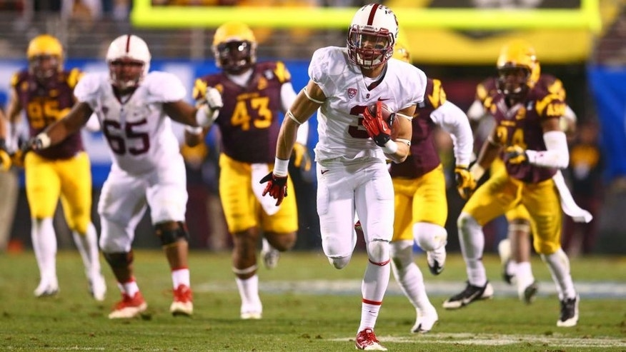 Dec 7, 2013; Tempe, AZ, USA; Stanford Cardinal wide receiver Michael Rector (3) runs the ball in the second half against the Arizona State Sun Devils at Sun Devil Stadium. Stanford defeated Arizona State 38-14. Mandatory Credit: Mark J. Rebilas-USA TODAY Sports