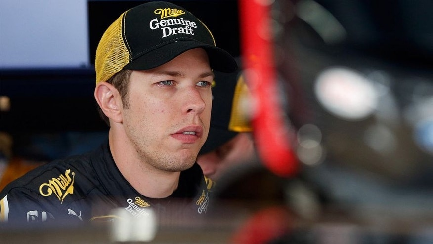 BROOKLYN, MI - AUGUST 14: Brad Keselowski, driver of the #2 Miller Lite Ford, prepares to drive during practice for the NASCAR Sprint Cup Series Pure Michigan 400 at Michigan International Speedway on August 14, 2015 in Brooklyn, Michigan. (Photo by Brian Lawdermilk/NASCAR via Getty Images)