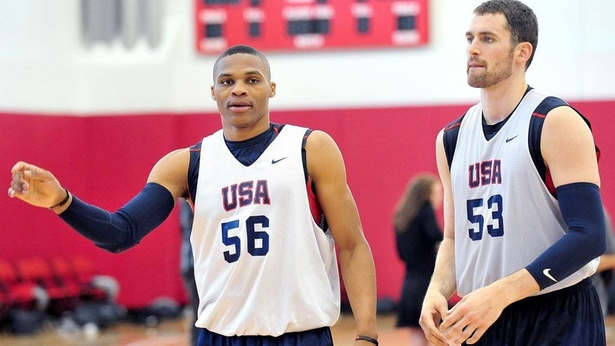 July 6, 2012; Las Vegas, NV, USA; Team USA guard Russell Westbrook and forward Kevin Love during practice at the UNLV Mendenhall Center. Mandatory Credit: Gary A. Vasquez-USA TODAY Sports