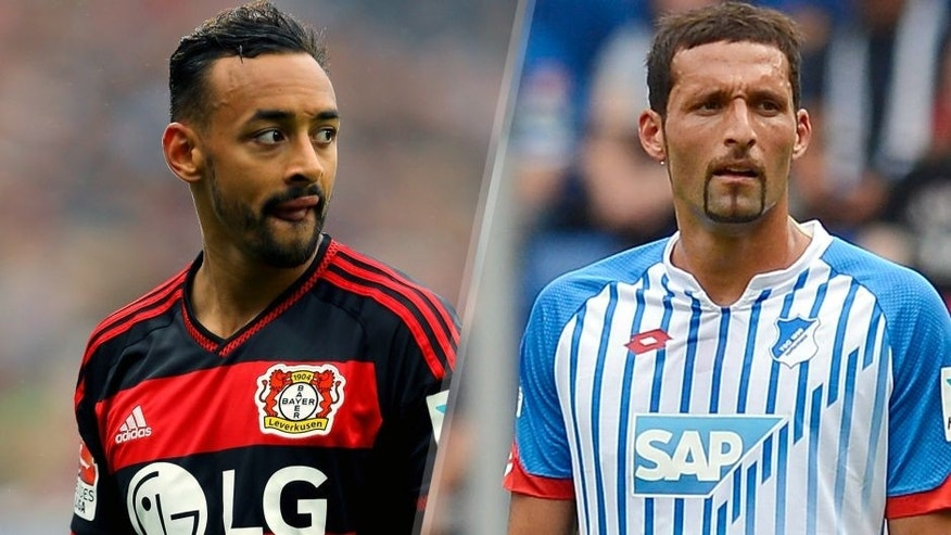 LEVERKUSEN, GERMANY - MAY 16: Karim Bellarabi of Leverkusen looks on during the Bundesliga match between Bayer 04 Leverkusen and 1899 Hoffenheim at BayArena on May 16, 2015 in Leverkusen, Germany. (Photo by Christof Koepsel/Bongarts/Getty Images) SINSHEIM, GERMANY - AUGUST 01: Kevin Kuranyi of Hoffenheim reacts during the friendly match between 1899 Hoffenheim and AFC Bournemouth at Wirsol Rhein-Neckar-Arena on August 1, 2015 in Sinsheim, Germany. (Photo by Daniel Kopatsch/Getty Images)