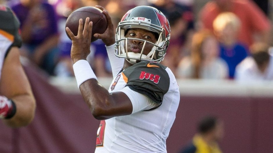 Aug 15, 2015; Minneapolis, MN, USA; Tampa Bay Buccaneers quarterback Jameis Winston (3) warms up prior to a preseason NFL football game against the Minnesota Vikings at TCF Bank Stadium. Mandatory Credit: Brace Hemmelgarn-USA TODAY Sports