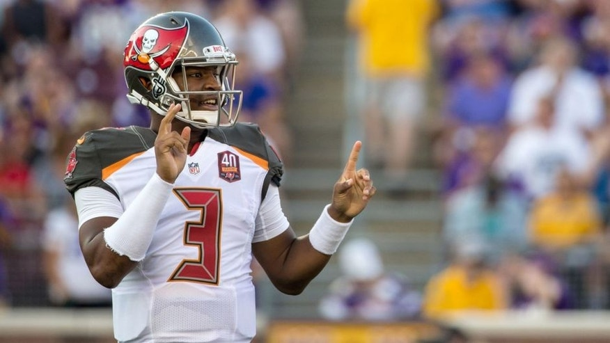 Aug 15, 2015; Minneapolis, MN, USA; Tampa Bay Buccaneers quarterback Jameis Winston (3) calls a play during the first quarter in a preseason NFL football game against the Minnesota Vikings at TCF Bank Stadium. Mandatory Credit: Brace Hemmelgarn-USA TODAY Sports