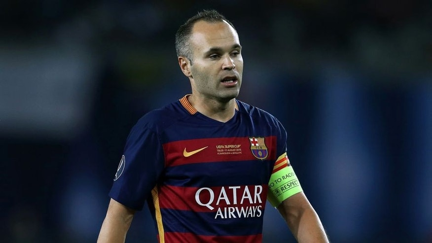 TBILISI, GEORGIA - AUGUST 11: Andres Iniesta of Barcelona looks on during the UEFA Super Cup match between Barcelona and Sevilla FC at Dinamo Stadium on August 11, 2015 in Tbilisi, Georgia. (Photo by Chris Brunskill/Getty Images)