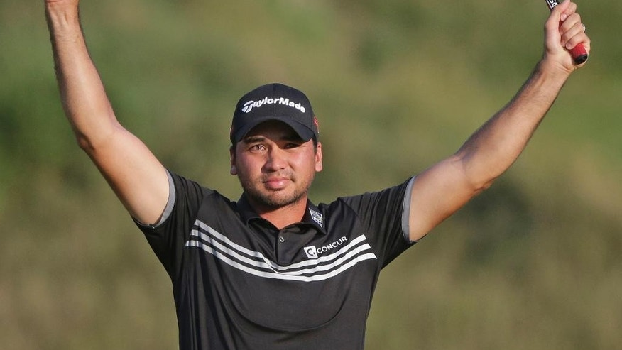 Jason Day, of Australia, celebrates after winning the PGA Championship golf tournament Sunday, Aug. 16, 2015, at Whistling Straits in Haven, Wis. (AP Photo/Jae Hong)