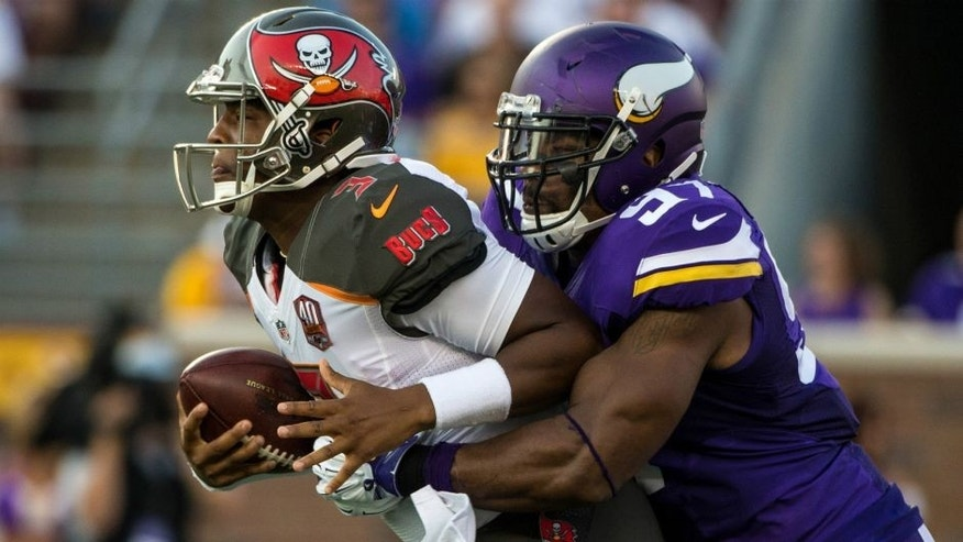 <p>Aug 15, 2015; Minneapolis, MN, USA; Tampa Bay Buccaneers quarterback Jameis Winston (3) is sacked by Minnesota Vikings defensive end Everson Griffen (97) during the first quarter in a preseason NFL football game at TCF Bank Stadium. Mandatory Credit: Brace Hemmelgarn-USA TODAY Sports</p>