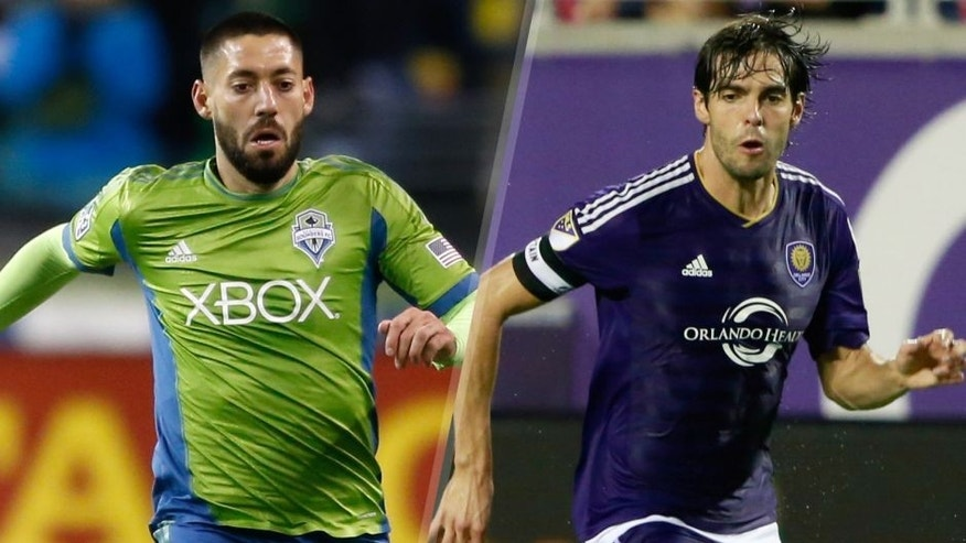 Clint Dempsey #2 of the Seattle Sounders FC dribbles against the Los Angeles Galaxy during the Western Conference Final at CenturyLink Field on November 30, 2014 in Seattle, Washington. (Photo by Otto Greule Jr/Getty Images) Aug 1, 2015; Orlando, FL, USA; Orlando City SC midfielder Kaka (10) dribbles the ball against the Columbus Crew during the second half at Orlando Citrus Bowl Stadium. Orlando City SC defeated the Columbus Crew 5-2. Mandatory Credit: Kim Klement-USA TODAY Sports