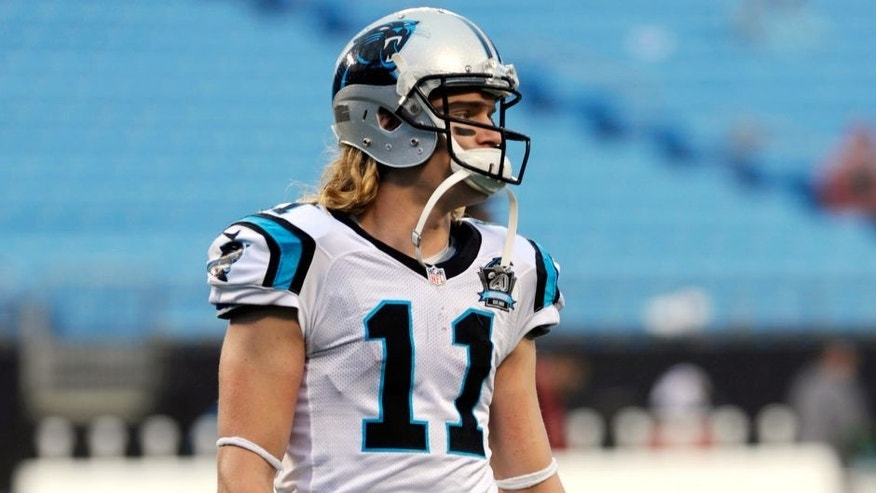 Jan 3, 2015; Charlotte, NC, USA; Carolina Panthers wide receiver Brenton Bersin (11) warms up before the 2014 NFC Wild Card playoff football game against the Arizona Cardinals at Bank of America Stadium. Mandatory Credit: Sam Sharpe-USA TODAY Sports
