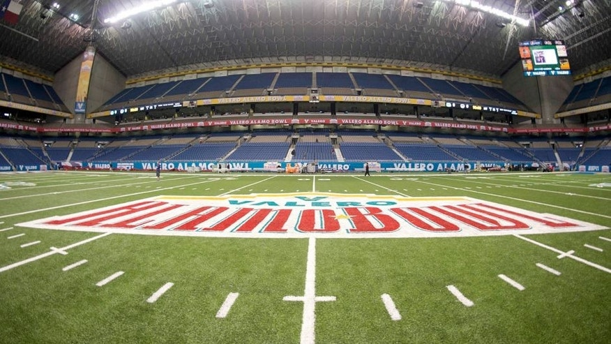 Jan 2, 2015; San Antonio, TX, USA; General view of the Alamodome in advance of the 2015 Alamo Bowl between the Kansas State Wildcats and the UCLA Bruins. Mandatory Credit: Kirby Lee-USA TODAY Sports