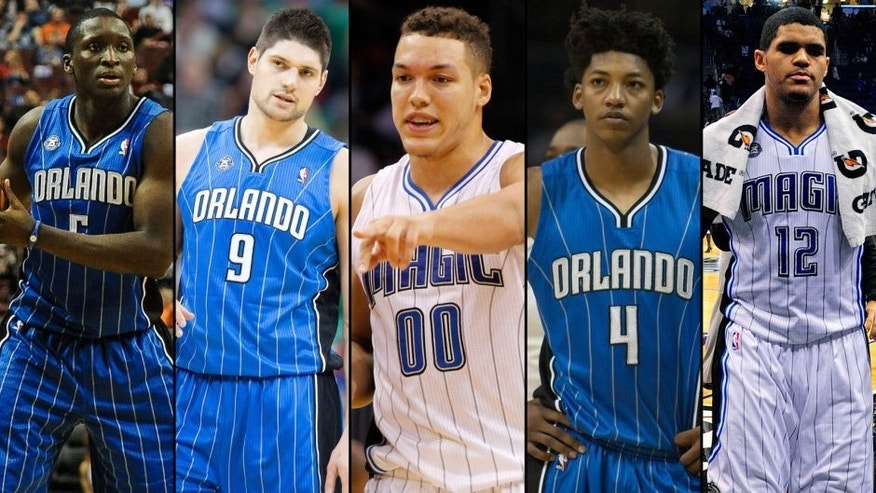 <p>Orlando Magic players from left: Victor Oladipo, Nikola Vucevic, Aaron Gordon, Elfrid Payton and Tobias Harris. PHOTO CREDIT: USA TODAY Sports<br> </p>