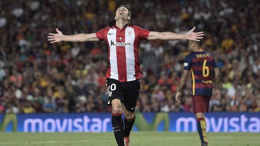 Athletic Bilbao's forward Aritz Aduriz celebrates his goal during the Spanish Supercup second-leg football match FC Barcelona vs Athletic club Bilbao at the Camp Nou stadium in Barcelona on August 17, 2015. AFP PHOTO / JOSEP LAGO (Photo credit should read JOSEP LAGO/AFP/Getty Images)