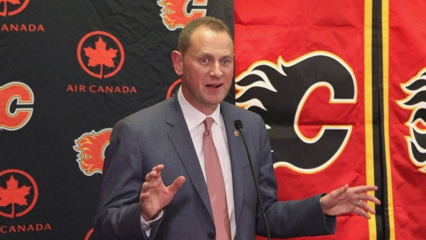 CALGARY, AB - APRIL 28: General Manager Brad Treliving of the Calgary Flames discusses his plans for the team's future at Scotiabank Saddledome on April 28, 2014 in Calgary, Alberta, Canada. (Photo by Janette Ahrens/NHLI via Getty Images)