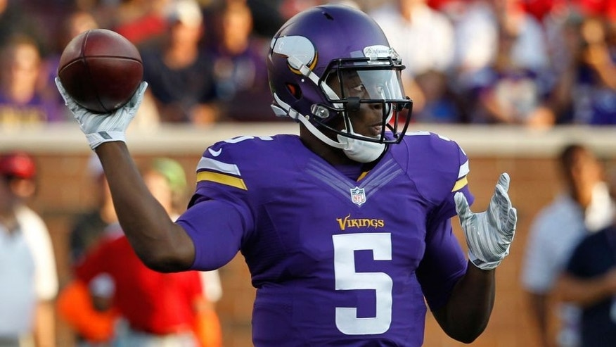 <p>Minnesota Vikings quarterback Teddy Bridgewater throws against the Tampa Bay Buccaneers during the first half of a preseason NFL football game Saturday, Aug. 15, 2015, in Minneapolis. (AP Photo/Ann Heisenfelt)</p>