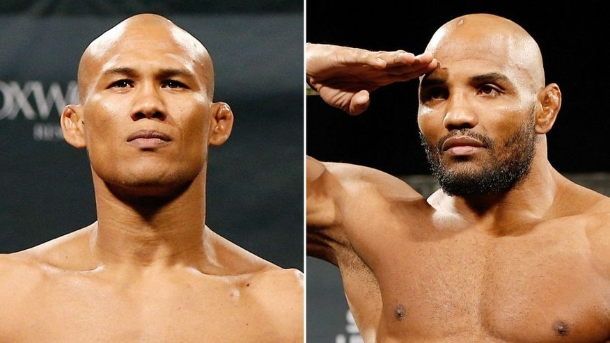 MASHANTUCKET, CT - SEPTEMBER 04: Ronaldo 'Jacare' Souza of Brazil weighs in during the UFC Fight Night weigh-in at Foxwoods Resort Casino on September 4, 2014 in Mashantucket, Connecticut. (Photo by Josh Hedges/Zuffa LLC/Zuffa LLC via Getty Images) LAS VEGAS, NV - SEPTEMBER 26: Yoel Romero of Cuba weighs in during the UFC 178 weigh-in at the MGM Grand Conference Center on September 26, 2014 in Las Vegas, Nevada. (Photo by Josh Hedges/Zuffa LLC/Zuffa LLC via Getty Images)