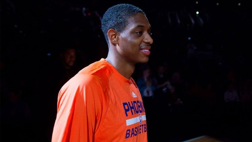 Feb 23, 2015; Phoenix, AZ, USA; Phoenix Suns guard Brandon Knight (3) prior to the game against the Boston Celtics at US Airways Center. Mandatory Credit: Mark J. Rebilas-USA TODAY Sports