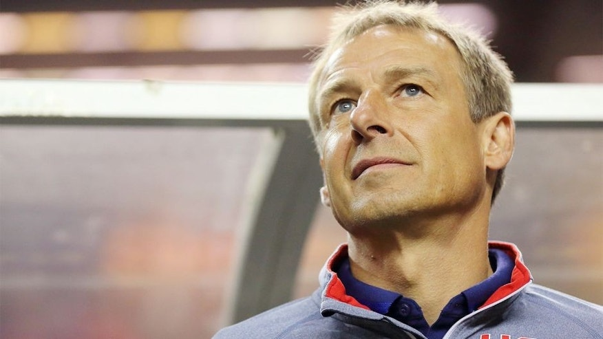 ATLANTA, GA - JULY 22: Head coach Jurgen Klinsmann of the USA during the Gold Cup Semi Final between USA and Jamaica at Georgia Dome on July 22, 2015 in Atlanta, Georgia. (Photo by Matthew Ashton - AMA/Getty Images)