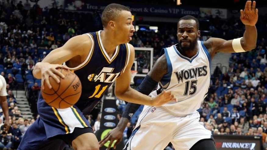 <p>Utah Jazz's Dante Exum, left, of Australia, drives around Minnesota Timberwolves' Shabazz Muhammad in the first quarter of an NBA basketball game, Saturday, Jan. 3, 2015, in Minneapolis. (AP Photo/Jim Mone),Utah Jazz's Dante Exum, left, of Australia, drives around Minnesota Timberwolves' Shabazz Muhammad in the first quarter of an NBA basketball game, Saturday, Jan. 3, 2015, in Minneapolis. (AP Photo/Jim Mone)</p>