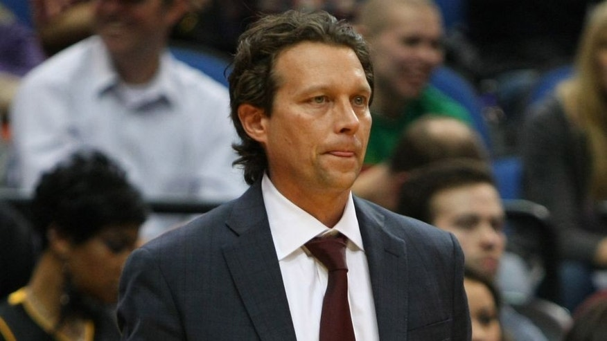 Jan 29, 2012; Minneapolis, MN, USA; Los Angeles Lakers assistant coach Quin Snyder against the Minnesota Timberwolves at the Target Center. The Lakers defeated the Timberwolves 106-101. Mandatory Credit: Brace Hemmelgarn-USA TODAY Sports