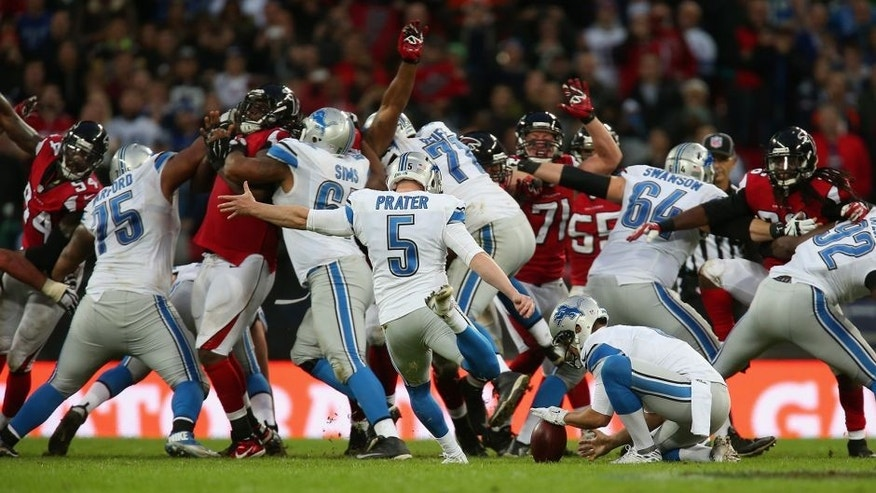 LONDON, ENGLAND - OCTOBER 26: Matt Prater #5 of the Detroit Lions kicks a 48 yard field to win the game during the NFL match between Detroit Lions and Atlanta Falcons at Wembley Stadium on October 26, 2014 in London, England. (Photo by Jordan Mansfield/Getty Images)