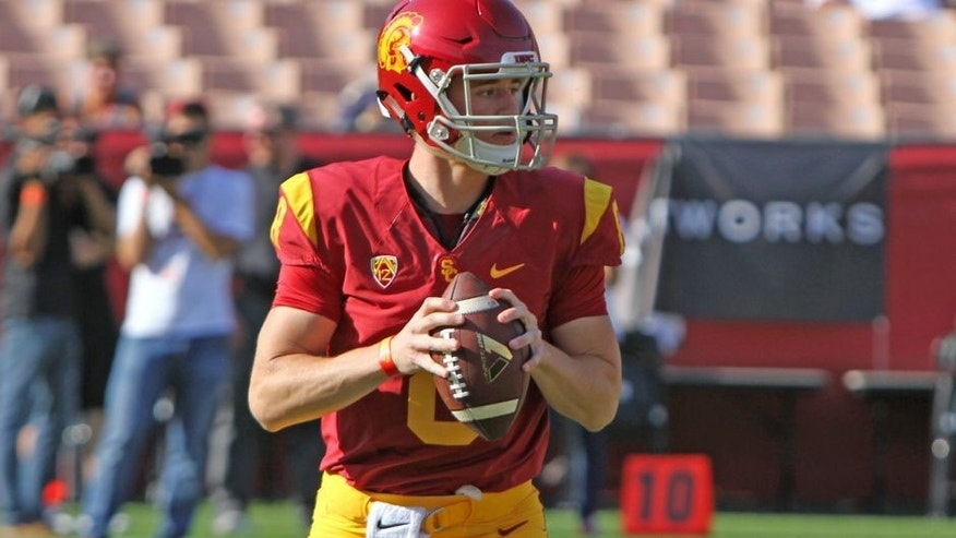 <p>USC fans got their first look at freshman quarterback Ricky Town.</p>