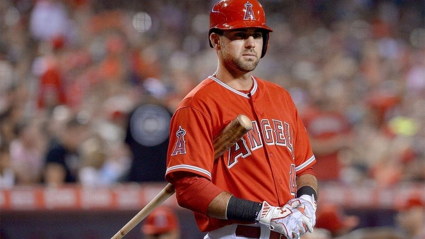 Aug 18, 2015; Anaheim, CA, USA; Los Angeles Angels third baseman Kaleb Cowart (41) on deck in the fourth inning of the game against the Chicago White Sox at Angel Stadium of Anaheim. Mandatory Credit: Jayne Kamin-Oncea-USA TODAY Sports