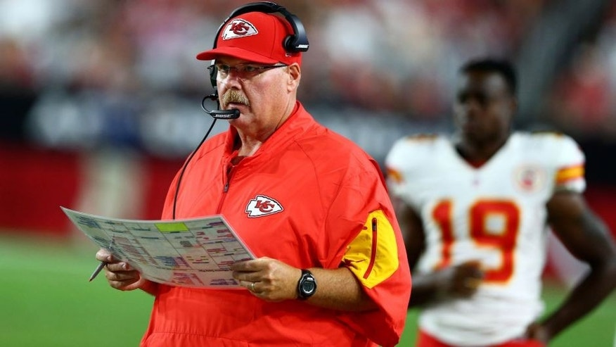 Aug 15, 2015; Glendale, AZ, USA; Kansas City Chiefs head coach Andy Reid on the sidelines in the second half against the Arizona Cardinals in a preseason NFL football game at University of Phoenix Stadium. Mandatory Credit: Mark J. Rebilas-USA TODAY Sports
